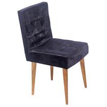 Cadeira Quadrada Preta Chenille Pé Palito Fullway - 80x44 Cm
