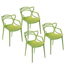 Conjunto 4 Cadeiras Funny Em Polipropileno Verde