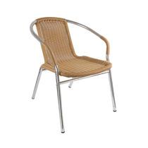 Cadeira Com Assento Em Fibra Natural E Base Em Alumínio