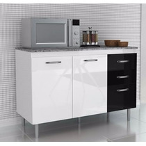 Balcão Gabinete Cozinha Branco E Preto Com Tampo