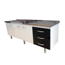Gabinete Para Cozinha Bonatto 1,50 Mt Branco E Preto