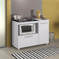 Balcão P/ Microondas E Cooktop Com Fruteira Porta Branco M