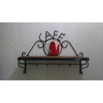 Prateleira Rústica Café Em Ferro E Madeira Tratada+6 Xícaras