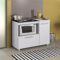 Balcão P/ Microondas E Cooktop Com Fruteira Porta Branco S