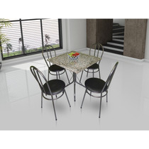 Conjunto De Mesa Movita Hoby Tampo Em Granito E 4 Cadeiras