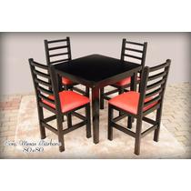 Conjunto Mesa Com 4 Cadeiras Duda 80x80