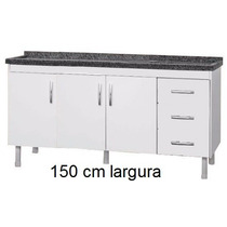 Balcão Cozinha Para Pia Isabel 1,50 M Branco Ajl