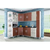 Cozinha Compacta Modulada 7 Peças Amêndoa Rovere Poliman