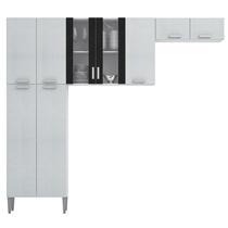 Cozinha Modulada 3 Peças Alfa - Linho Branco E Preto