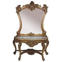 Aparador Luiz Xv Com Folheação A Ouro E Espelho - Cod8000318