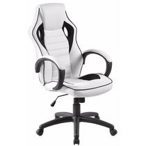 Cadeira Racing / Gamer Giratória Almofadada Preta E Branca