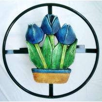 Suporte Para Mangueira Jardim Artesanato Tulipa Azul