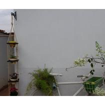 Kit Floreira Horta Vertical Em Madeira + Suporte De Ferro