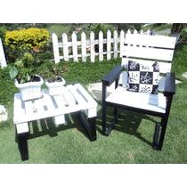 Conjunto De Mesa Com Cadeira Em Madeira Pra Varanda E Jardim