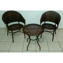 Conjunto De Poltronas/cadeiras E Mesa Junco/vime/fibra Jogo
