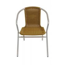 Cadeira Poltrona Mor Rattan Bege Em Aluminio Jardim