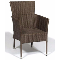 Cadeira Poltrona Rattan Marrom Para Jardim Em Alumínio