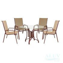 Conjunto De Mesa E 4 Cadeiras De Aluminio Com Tela Sling