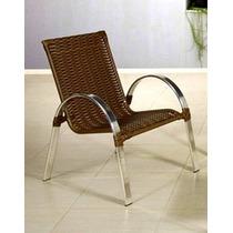 Poltrona / Cadeira De Alumínio Em Fibra De Junco Sintético