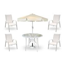 Conjunto Mesa Com Cadeiras Sorrento Com Ombrelone - Branco