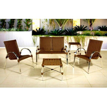 Conj Alumínio Namoradeira Junco+2 Cadeiras+mesa Fibra Rattan