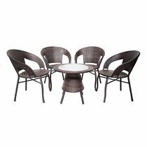 Conjunto Garden Rattan Mesa + 4 Cadeiras Varanda Sacada