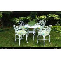 Jogo 4 Cadeiras 1 Mesa Grande Para Jardim E Casa Aluminio