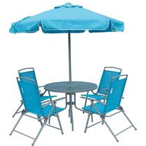 Jogo Jardim 4 Cadeiras Ombrelone Mesa Miami Azul Bel 85300