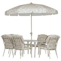 Conjunto Jardim C/ Mesa 6 Cadeiras E Guarda-sol Bali Mor