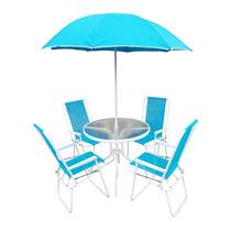 Jogo Jardim 4 Cadeiras Ombrelone Mesa Leblon Azul Bel 88800