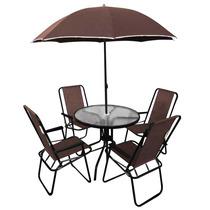 Jogo Jardim 4 Cadeiras Ombrelone Mesa Café Bel Lazer 88900