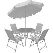 Conjunto Jardim C/ Mesa 4 Cadeiras 1 Guarda-sol Malibu Mor