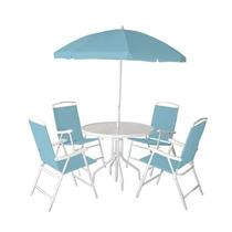 Conjunto 4 Cadeiras Guarda Sol Mesa Ipanema Azul Bel Fix 861