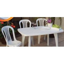 Conjunto Mesa Mariana +4 Cadeiras Com Apoio De Plástico