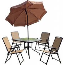 Conjunto De Jardim Acapulco Mesa 4 Cadeira Guarda-sol - Mor