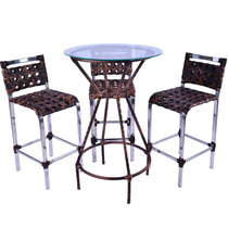 Conjunto Junco Mesa Bistrô Redonda C/vidro - 3 Cadeiras