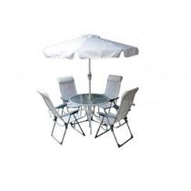 Conjunto De Jardim Monaco Alumínio 1 Mesa C/ 4 Cadeiras