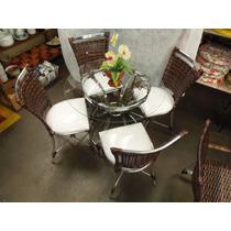 Conjunto De Mesa Circular E 4 Cadeiras Rattan Varanda Junco