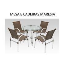 Conjunto Mesa Com 4 Cadeiras Em Aluminio E Fibra Sintética