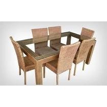 Jogo De Mesa De Jantar De Fibra Sintetica Com 6 Cadeiras
