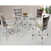 Mesa + 4 Cadeiras De Alumínio Revestida Em Fibra Sintética