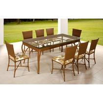 Mesa +8 Cadeiras Revestida Em Fibra Sintética C/ Nota Fiscal