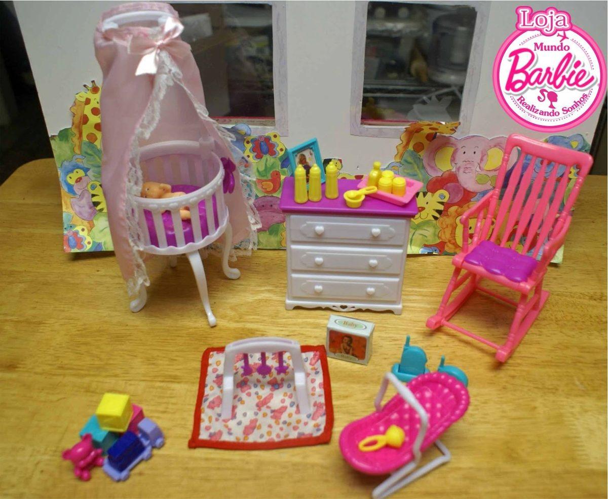 Moveis Para Casa De Boneca Barbie - Quarto De Bebê - R ...