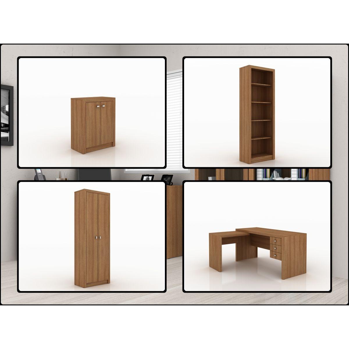 Móveis Para Escritório Mesa Em L Balcão Armário Com Portas R$  #6B4931 1200x1200