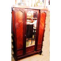 Antigo Guarda Roupa Art Noveau Espelho Bisotado Madeira