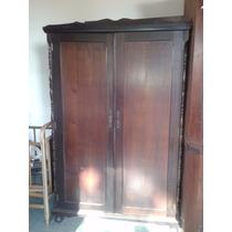 Guarda Roupa De Madeira Antigo De Duas Portas #948