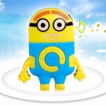 Mp3 Player Minions Mini Som + Cabo Usb + Fone De Ouvido
