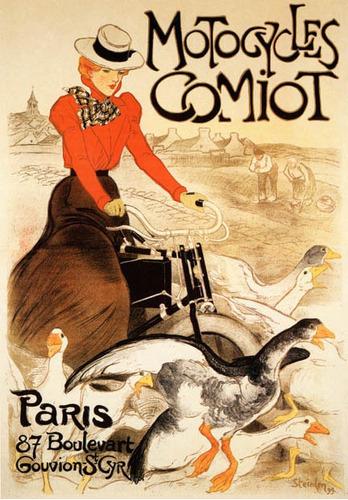 Mulher Motocicleta Pato Ganso Paris Vintage Poster Repro