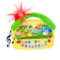 Brinquedo Piano Teclado Infantil Luz Musical Sons Animais