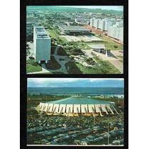 02 Cartão Postal Brasilia / Df - Ginasio E Igreja